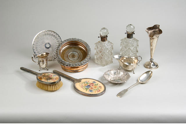 A quantity of assorted silver items, various dates and makers