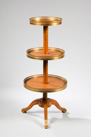 A late 19th Century French  parquetry three tier etagere