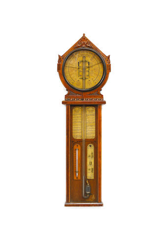 A mid 19th century carved oak 'Royal Polytechnic Barometer' Davis & Co, 'Inventors and Manufacturers