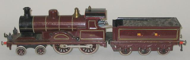 Bing gauge 1 c/w 4-4-0 MR locomotive 2631 and 6-wheel tender
