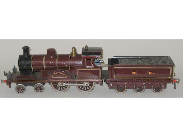 Bing gauge 1 c/w 4-4-0 MR locomotive 2631 and 6-wheel tender