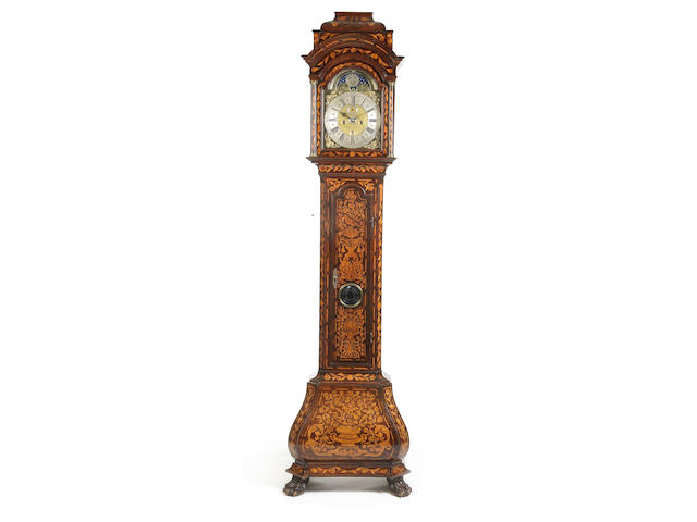 A good 18th century Dutch walnut marquetry longcase clock with moonphase Gerrit Rensman, Zwolle, Fecit,