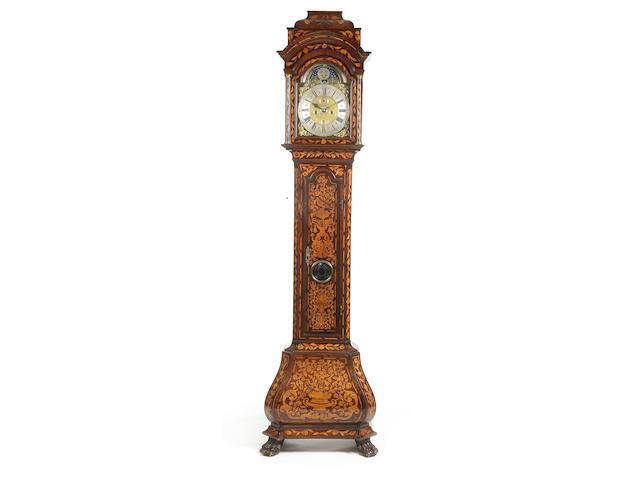 A good 18th century Dutch walnut marquetry longcase clock with moonphase Gerrit Rensman, Zwolle, Fecit,
