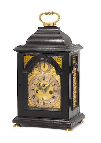 A good first half of the 18th century ebonised quarter repeating bracket clock of extremely small size J Purden, London