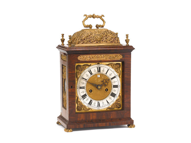 A very rare late 17th century kingwood veneered quarter repeating basket-topped bracket clock James Michel, London