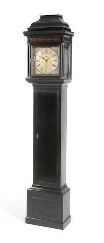 An early 18th century ebonised longcase clock of one month duration George Graham.  The movement and dial numbered 611; the associated Graham case numbered 642