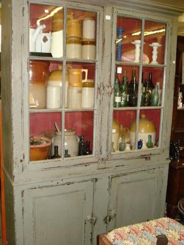 A blue/grey painted pine kitchen cupboard,