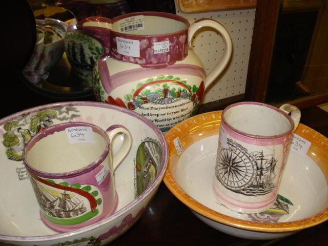 A Sunderland lustre jug, bowl and mug,