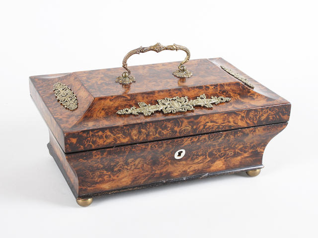 A mid-19th century burr mulberry Palais Royal sewing box