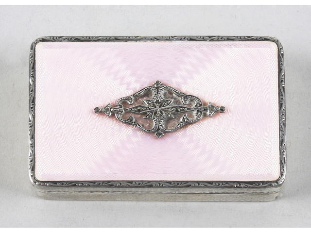A Continental silver and pink guilloche enamel compact Stamped with import mark for London and '925'