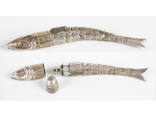 An 18th century German silver-gilt flexible fish sewing compendium