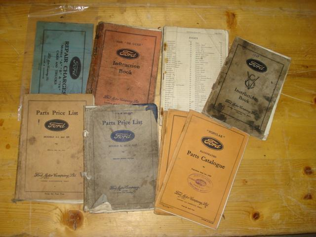 A quantity of 1930's Ford parts lists,