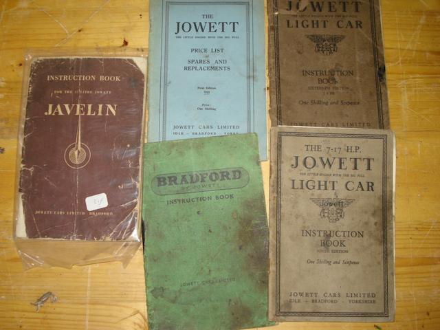 A quantity of Jowett and Jowett Bradford instruction books,