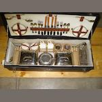 An Edwardian running board mounting picnic set,