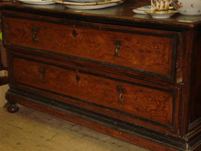 A Continental mahogany chest,