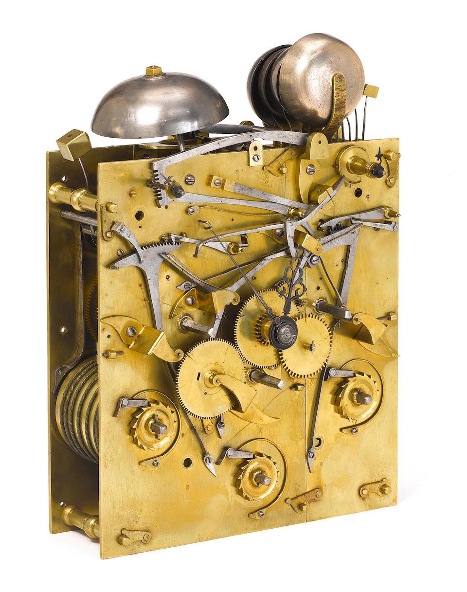 A fine late 17th century ebony veneered quarter chiming bracket clock with split frontplate Charles Goode, London