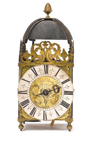 An early 18th century brass lantern clock  Fran. Colman, Ipswich