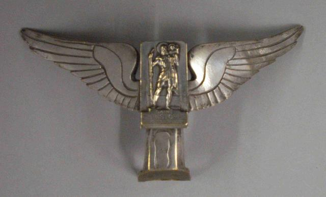 A winged 'Saint Christophe' mascot by Frederick Bazin, French, 1920s,