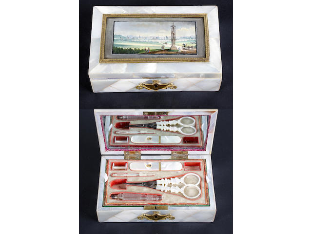 A good mother-of-pearl Palais Royal small sewing box, with painted landscape panel to lid