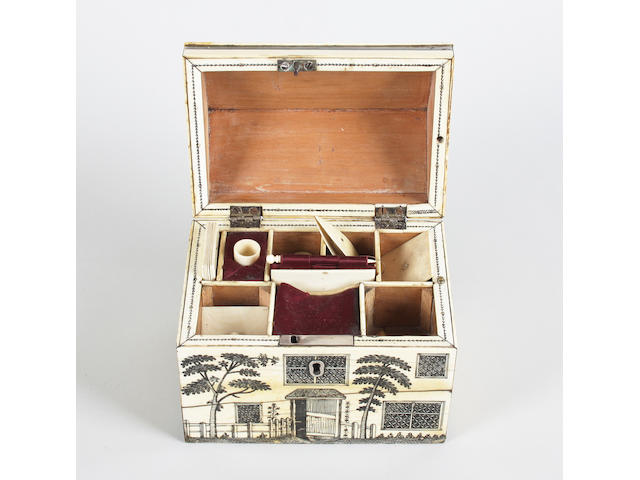 A rare late 18th century Vitzagapatan ivory sewing box in the form of a colonial house