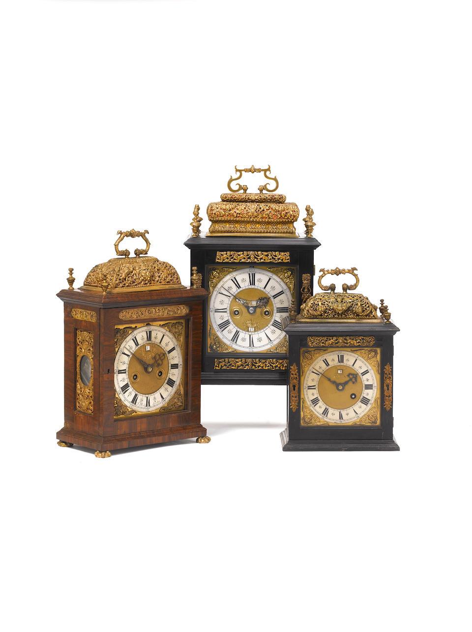 A very rare late 17th century kingwood veneered quarter repeating basket-topped bracket clock James Michel, London
