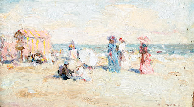 Ken Moroney (British, born 1949) Ladies on the beach (together with another oil on board by the same hand (2))