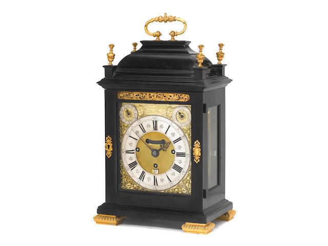 A fine late 17th century ebony veneered quarter chiming bracket clock with split frontplate Charles Goode, London