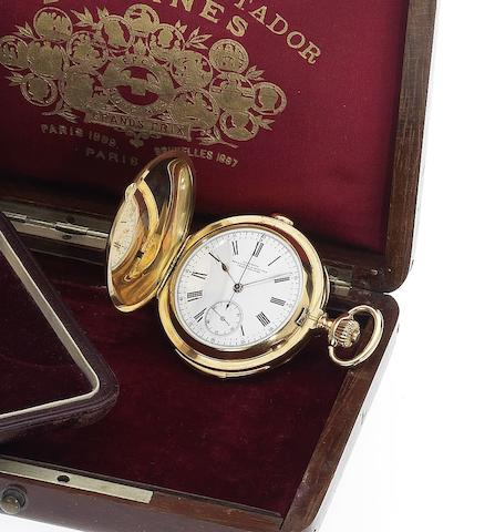 Longines. A fine early 20th century 18ct gold full hunter minute repeating chronograph pocket watch with factory presentation boxCase No.33348, Circa 1915