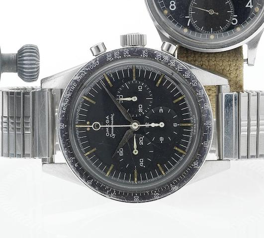 Omega. A fine and rare stainless steel manual wind chronograph wristwatch Speedmaster, Ref:2998-2, Movement No.17761956, Ref:2998-2, Circa 1959