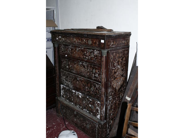 An 18th century walnut marquetry chest
