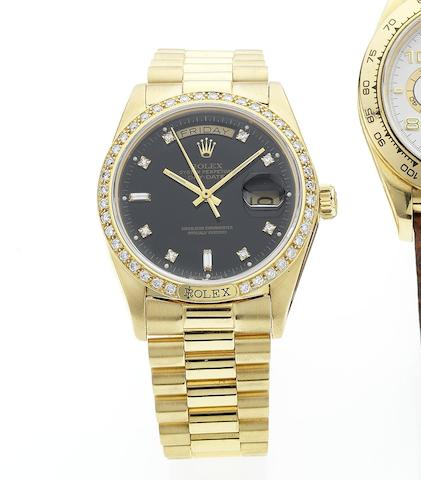 Rolex. A fine 18ct gold and diamond set automatic bracelet watch with Rolex box and papers Day-Date, Ref:18238, Circa 1983