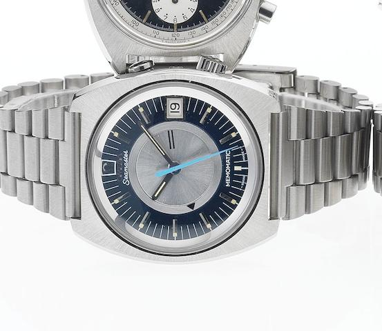 Omega. A fine stainless steel automatic centre seconds wristwatch with calendar and alarm Memomatic, Ref:160072.8, 1970's