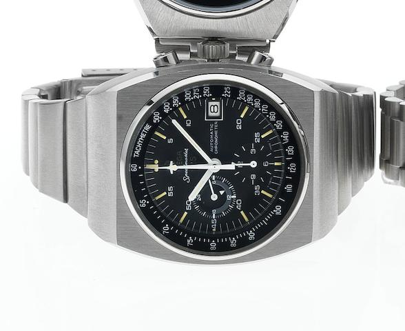Omega. A fine and rare stainless steel automatic chronograph wristwatch Speedmaster 125, 1973