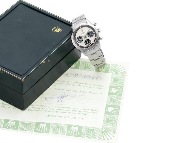 "Rolex. A fine and rare stainless steel chronograph wristwatch with Rolex box and papers Cosmograph Daytona, ""Paul Newman"", Ref.6239, Circa 1966"