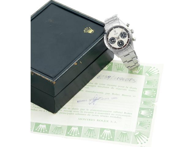 "Rolex. A fine and rare stainless steel chronograph wristwatch with Rolex box and papersCosmograph Daytona, ""Paul Newman"", Ref.6239, Circa 1966"