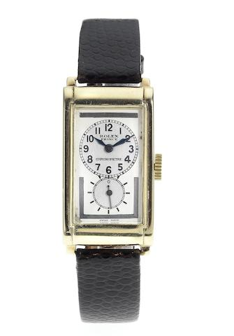 Rolex. A fine and rare 9ct gold rectangular wristwatch Prince, Ref:1862, Case No.13200, Glasgow Import Mark for 1934