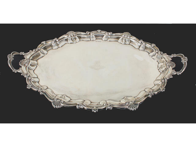 A silver twin handled tray By Atkin Brothers, Sheffield, 1920,