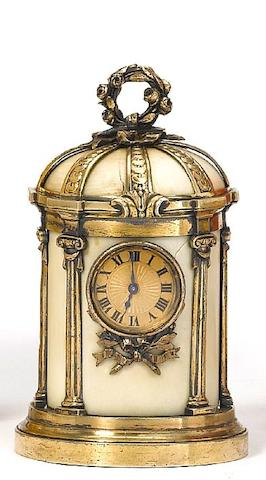 A rare late 19th century French silver and ivory timepiece in the form of a Temple of Love Bointaburet a Paris