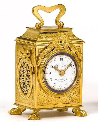A small and fine early 20th century gilt brass travelling timepiece in the form of an early 19th century travelling clock L. Le Roy et Cie, 13 & 15 Galerie Montpensier, Palais-Royal