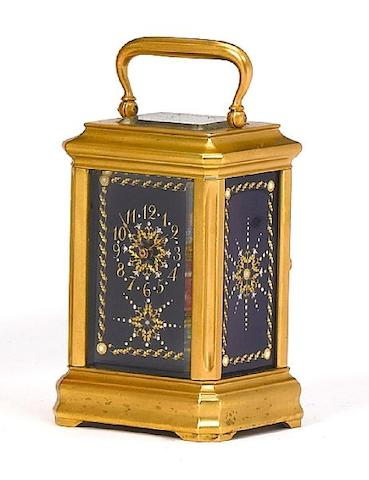 A small late 19th century French enamel decorated carriage timepiece The movement numbered 862