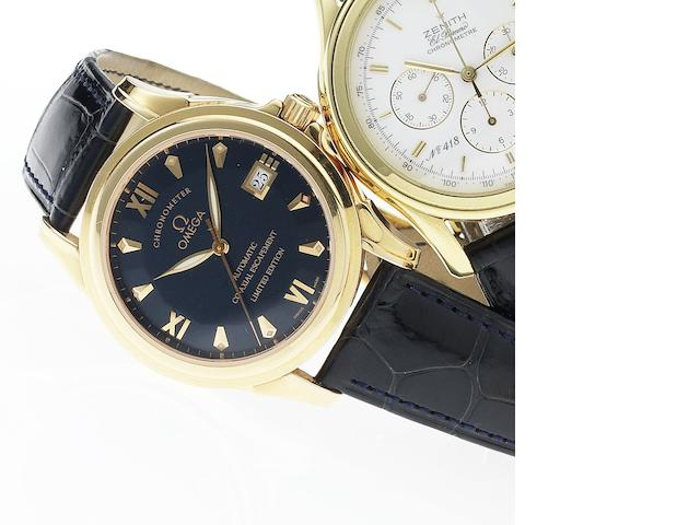 Omega. A fine and rare 18ct rose gold limited edition automatic centre seconds calendar wristwatch with Co-Axial escapement De Ville, No.230/999, Ref:59318123, Sold December 6th 1999,