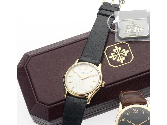 Patek Philippe. A fine and rare 18ct pink gold wristwatch with original box and papersRef:3923, Case No.2851093, Movement No.1813578, Made in 1988, Sold September 20th 1988