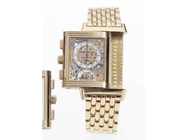 Jaeger LeCoultre. A fine and rare 18ct pink gold reversible retrograde chronograph bracelet watchReverso Chronographe Retrograde, No.183/500, Ref:270.2.69, Produced in a limited edition of 500 examples