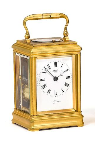 A good early 20th century French cannelee cased repeating carriage clock by Drocourt Grohe, Pennington & Tyke, Succrs., 4225 Wigmore Street, London
