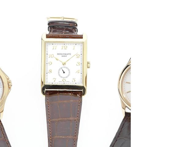 Patek Philippe. A fine and rare 18ct gold rectangular wristwatch together with Extract from Archives  Ref:5109, Case No.4244737, Movement No.1885846, Made in 2003, Sold December 17th 2003