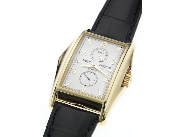 Patek Philippe. A fine and rare 18ct gold limited edition rectangular wristwatch with 10-day power reserve and Extract from Archives Ref.5100, Case No.4111120, Movement No.3203752, Made in 2000, Sold February 28th 2001