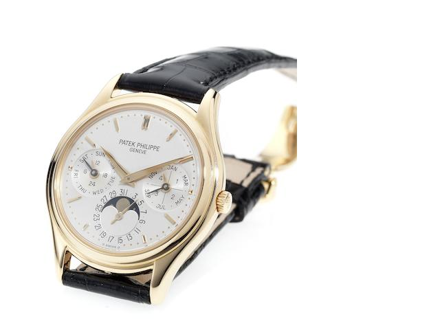 Patek Philippe. A fine and rare 18ct rose gold perpetual calendar wristwatch with 18ct rose gold deployant clasp and Extract from Archives  Ref:3940, Case No.2981617, Movement No.776493, Made in 1997, Sold January 5th 1998
