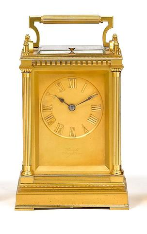 A good late 19th century French gilt brass grande-sonnerie striking carriage clock Boxell, Brighton