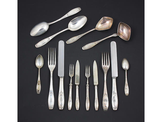 A part canteen of early 20th Century silver cutlery Stamped '800', with crown and crescent mark,  (60)