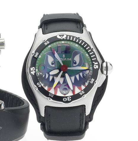 Corum. A fine limited edition automatic centre seconds calendar wristwatch together with fitted presentation box and certificate Flying Shark, Dive Bomber Bubble, 2004